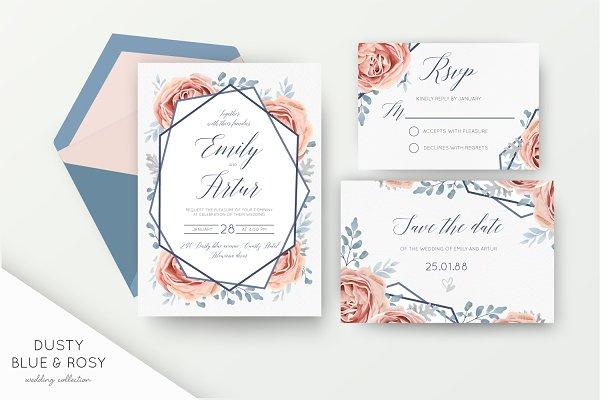 Wedding suite - Dusty blue & rosy