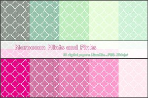Moroccan Mint and Pink digital paper