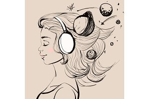 Beautiful happy girl with headphones