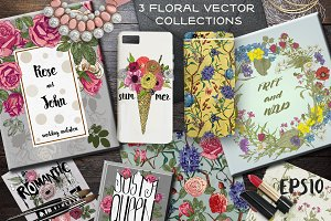 3 Vector Floral Collections
