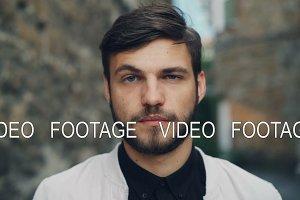 Close-up slow motion portrait of