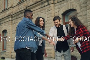 Slow motion of multiracial group of