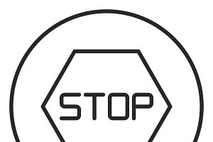 Stop sign stroke icon, logo