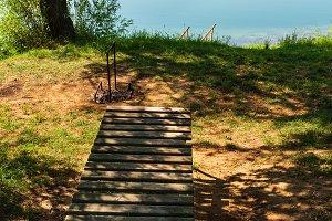 Сamping pitch on summer lake calm b
