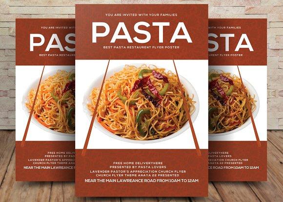 pasta restaurant flyer template flyer templates creative market