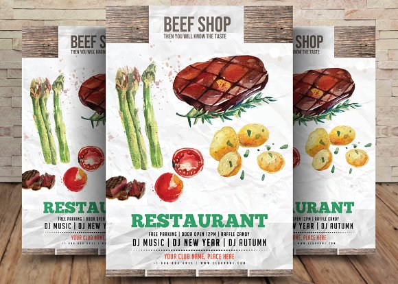 Butcher And Beef Shop Flyer Template Flyer Templates Creative Market