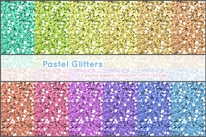 12 digital papers pastel glitters