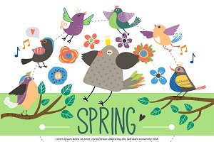 Flat springtime template