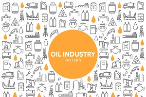Oil industry line icons pattern