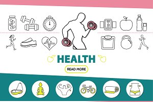 Healthy lifestyle line icons set