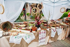 Traditional ukrainian food at weddin
