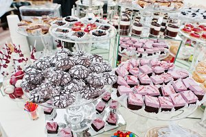 Wedding catering table with differen