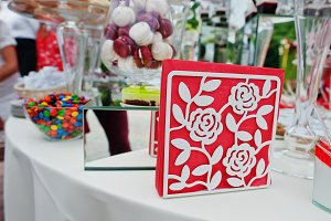 Napkin on wedding catering table wit
