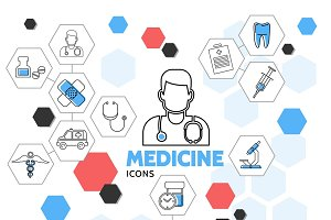 Medicine hexagonal line icons