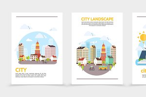 City landscape vertical banners