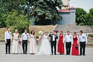 Elegance wedding couple with bridesm