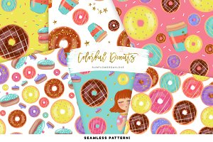Colorful donut pattern images