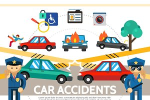 Flat auto accident concept