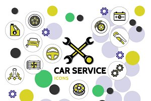 Car service line icons collection