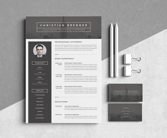 modern resume template 3 pages resume templates creative market