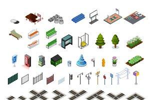 City map isometric elements set