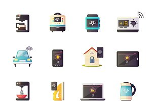 Internet of things cartoon icons