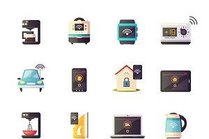 Internet of things cartoon icons