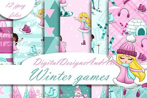 Winter games digital paper