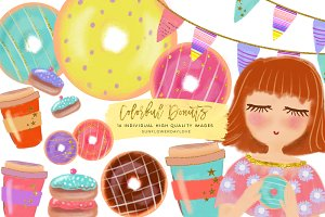 Colorful Donut Clip art Set,