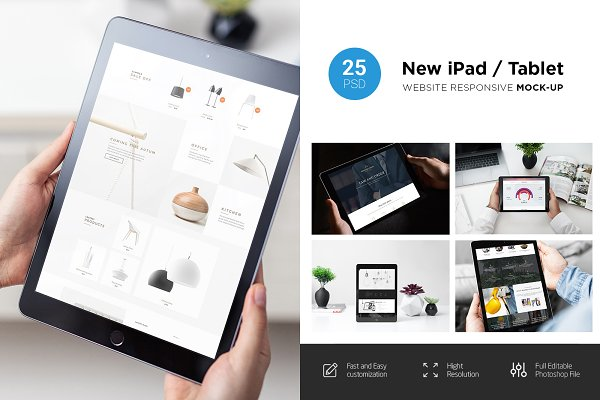 New Ipad Responsive Mock Up Creative Photoshop Templates Creative Market