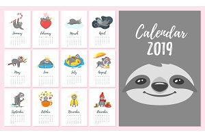 2019  year monthly sloth  calendar