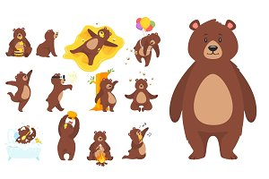 cartoon brown grizzly bear