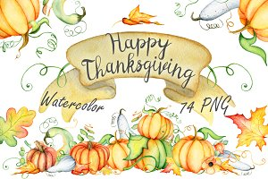 Happy Thanksgiving Pumpkins clipart