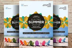 Summer Electro Flyer Template