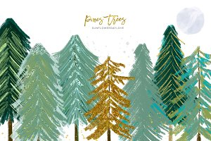 Conifer Trees, Watercolor pine trees