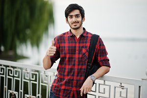 Young indian student man at checkere