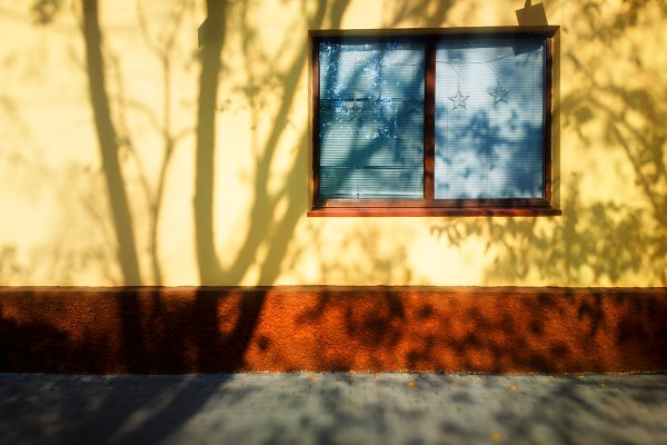 Stock Photos: RETROWAVE '88 - Dramatic tree shadow on house wall b