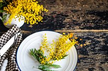 Spring table setting with flowers by  in Food & Drink