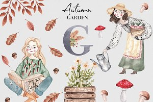 Autumn Garden Watercolor Collection