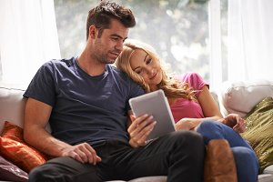 couple using tablet together