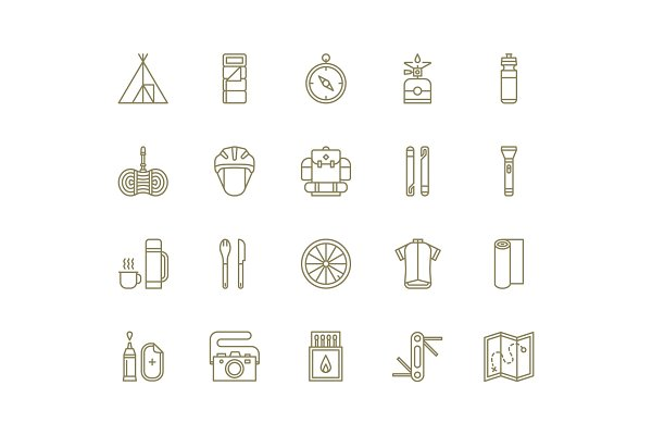 Line Icons | Bikepacking Icon Set