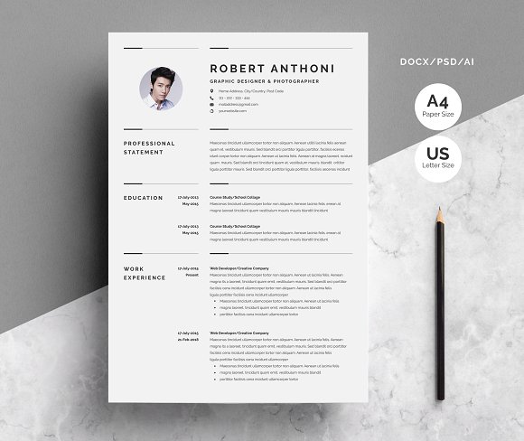 creative resume template 3 pages