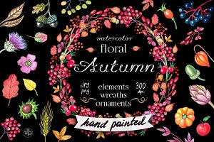 Watercolor floral autumn wreaths