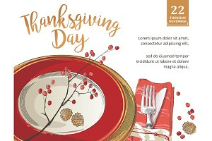 Thanksgiving poster template forks