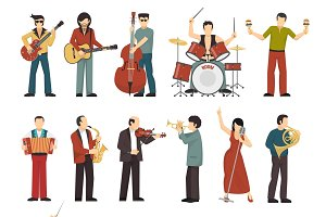 Colored musicians figures icons