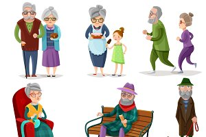 Senior people cartoon set