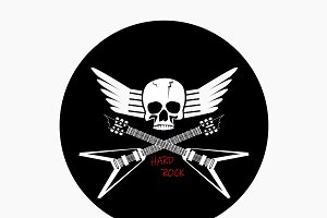 Skull guitar rock music logo backgro