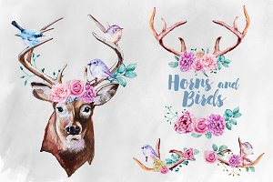 Watercolor Horns and Birds Clipart