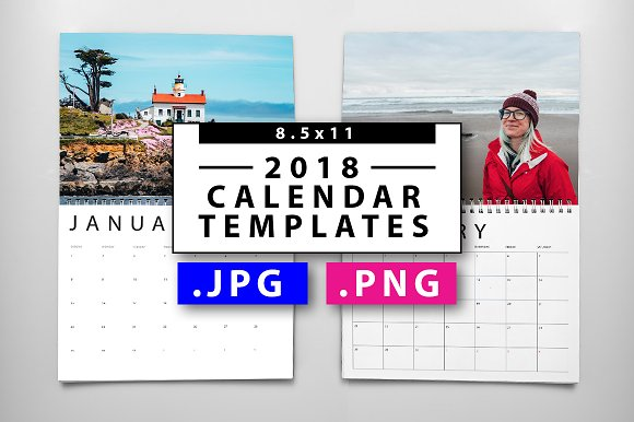 2018 Jpgpng Calendar Templates Templates Creative Market