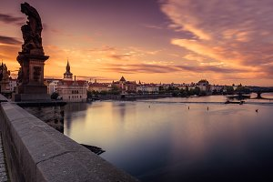 View of Vltava River and Prague at d
